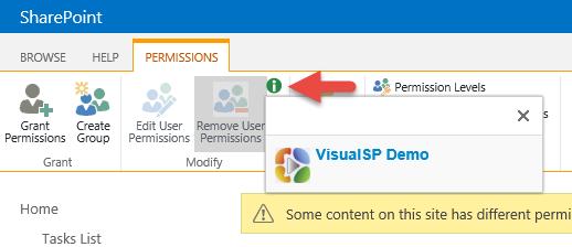 Site Permissions - Remove User Permissions button