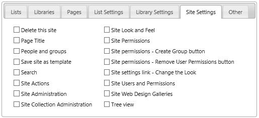 Site Settings tab